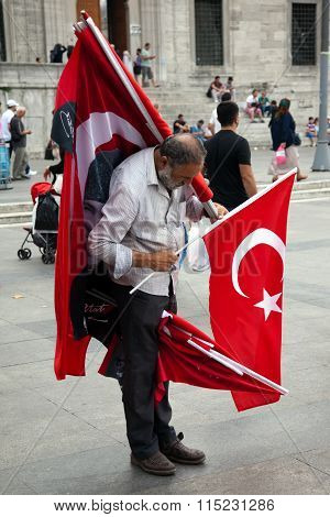 Turkish vendor is selling flags