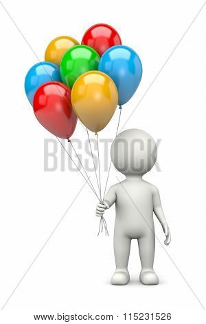 3D Character With Bunch Of Balloons