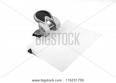 Office Paper Perforator Isolated On White With Clipping Path