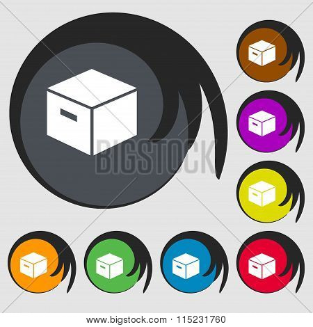 Packaging Cardboard Box Icon. Symbols On Eight Colored Buttons.