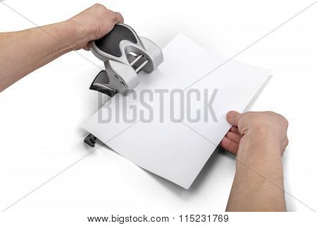 Office Paper Perforator And Hands Isolated On White With Clipping Path