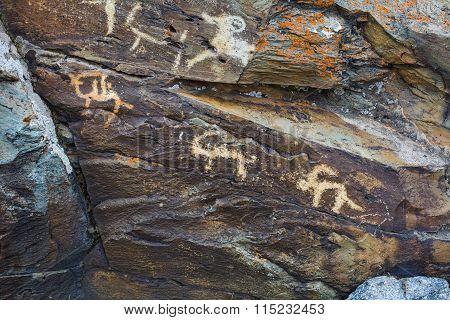 Hunting Scenes Prehistorical Petroglyphs
