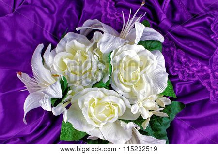 White flowers on purple background