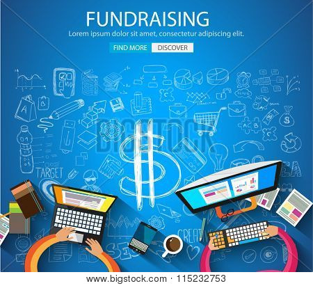 Fundraising concept with Doodle design style :finding money, financial management, creative thinking. Modern style illustration for web banners, brochure and flyers.