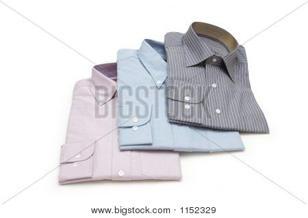 Three Packed Shirts Isolated On The White