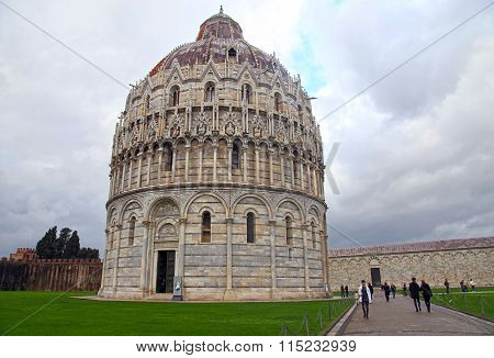 Baptistry On Famous Piazza Dei Miracoli, Pisa, Italy