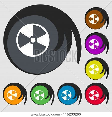 Radioactive Icon. Symbols On Eight Colored Buttons.