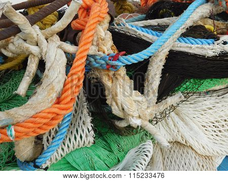 fishing net on the boat to open sea
