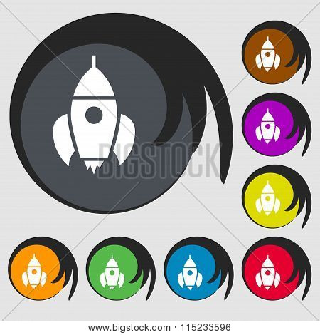 Rocket Icon. Symbols On Eight Colored Buttons.