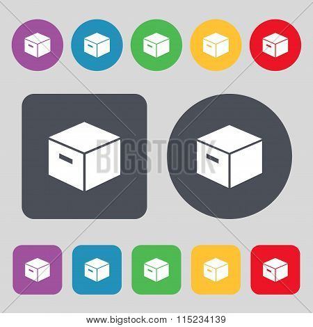 Packaging Cardboard Box Icon Sign. A Set Of 12 Colored Buttons. Flat Design.