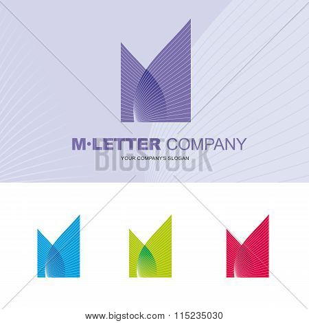 Vector logo for letter M design template.