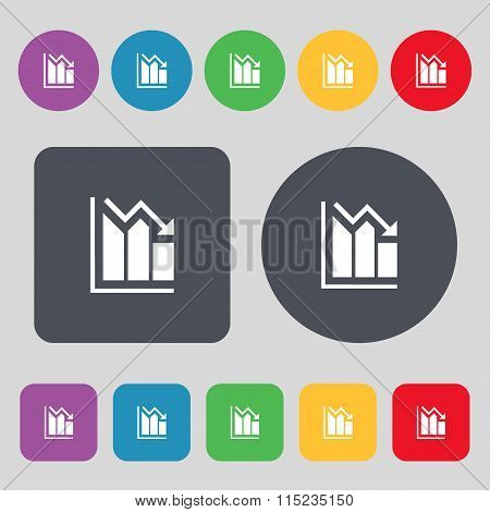 Histogram Icon Sign. A Set Of 12 Colored Buttons. Flat Design.