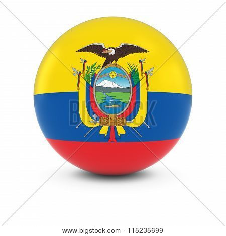Ecuadorian Flag Ball - Flag Of Ecuador On Isolated Sphere