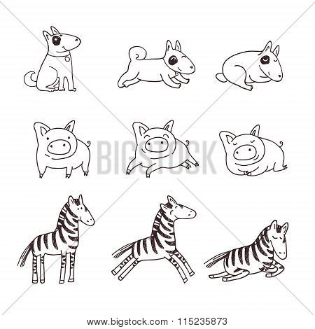 Cute doggies, pigs and zebras.