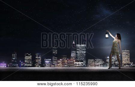 Girl lost in darkness