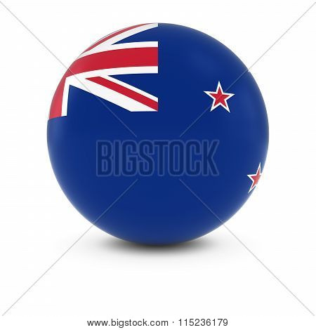 New Zealand Flag Ball - Flag Of New Zealand On Isolated Sphere