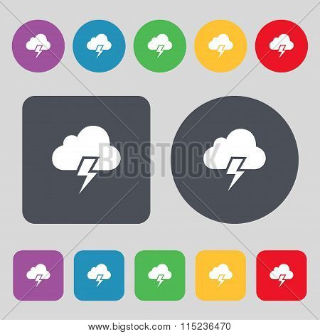 Heavy Thunderstorm Icon Sign. A Set Of 12 Colored Buttons.