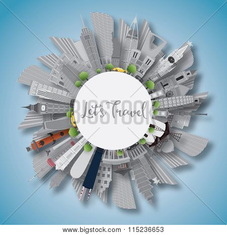 Travel Concept Around the World. Famous International Landmarks. Business Travel and Tourism Concept with Copy Space. Image for Presentation, Banner, Placard and Web Site. Vector Illustration.