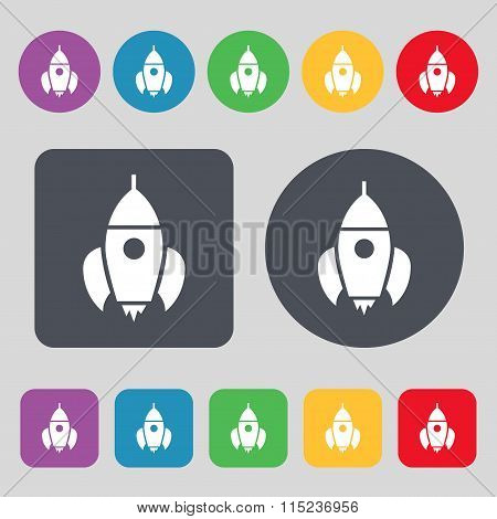 Rocket Icon Sign. A Set Of 12 Colored Buttons.