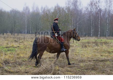 The commander of the red Army on horseback. A member of the military-historical festival
