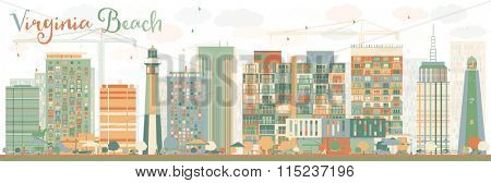 Abstract Virginia Beach (Virginia) Skyline with Color Buildings. Vector Illustration. Business Travel and Tourism Concept with Modern Buildings. Image for Presentation, Banner, Placard and Web Site