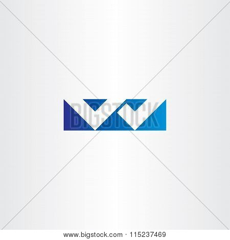 Logo Letter W Blue Sign Vector Icon Design Logotype