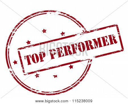Rubber stamp with text top performer inside vector illustration