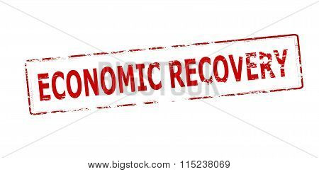 Rubber stamp with text economic recovery inside vector illustration