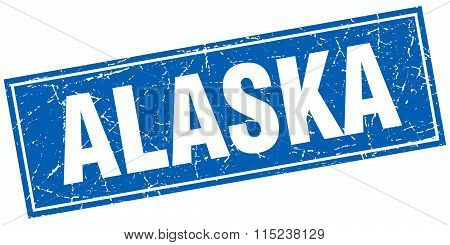 Alaska blue square grunge vintage isolated stamp