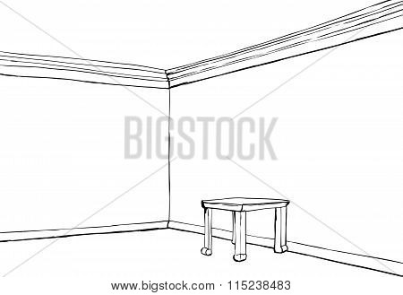 Outlined Empty Room With Table