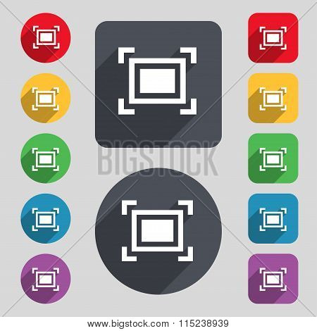 Crops And Registration Marks Icon Sign. A Set Of 12 Colored Buttons And A Long Shadow. Flat