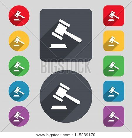 Judge Or Auction Hammer Icon Sign. A Set Of 12 Colored Buttons And A Long Shadow. Flat Design.