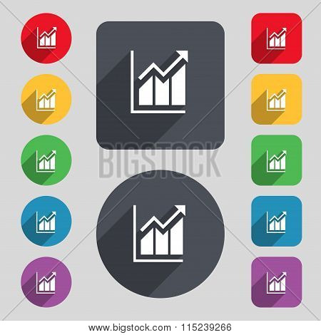 Growing Bar Chart Icon Sign. A Set Of 12 Colored Buttons And A Long Shadow. Flat Design.