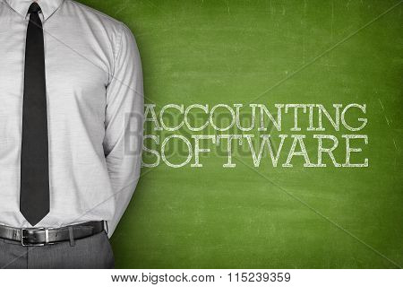 Accounting software text on blackboard