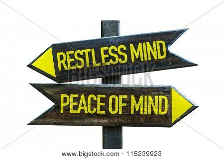 Restless Mind - Peace of Mind signpost isolated on white background