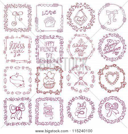 Love heart doodle brushes.Valentine,wedding frame.Pink