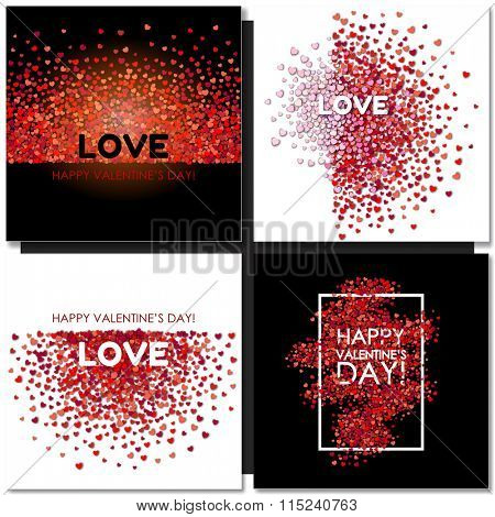 Set of Valentines day cards background with hearts