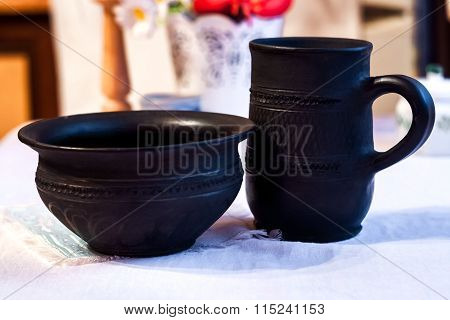 Jug And Cup Of Black Clay
