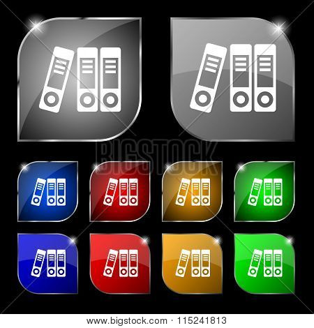 Binders  Icon Sign. Set Of Ten Colorful Buttons With