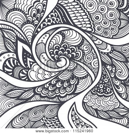 Abstract pattern in Zen-tangle  Zen-doodle style black on white