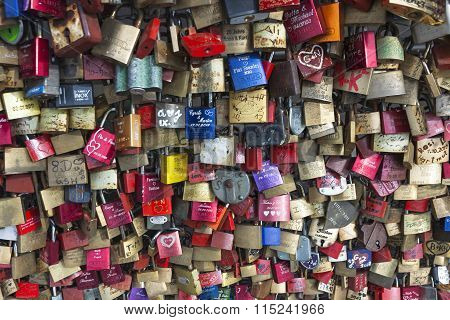 Hohenzollern Bridge In Cologne With Personal Love Padlocks