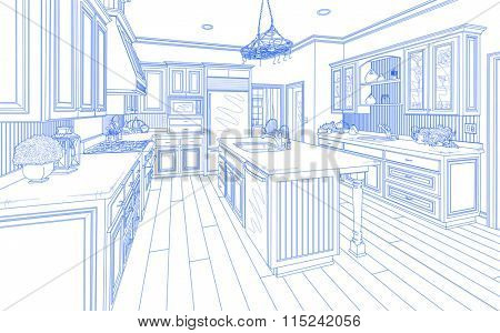 Beautiful Custom Kitchen Design Drawing in Blue on White.