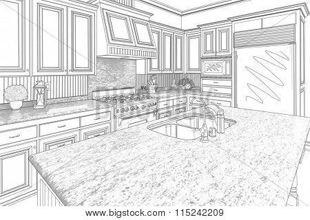 Beautiful Custom Kitchen Design Drawing in Black on White.