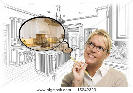 Creative Woman With Pencil Over Custom Kitchen Drawing and Thought Bubble Photo Combination.