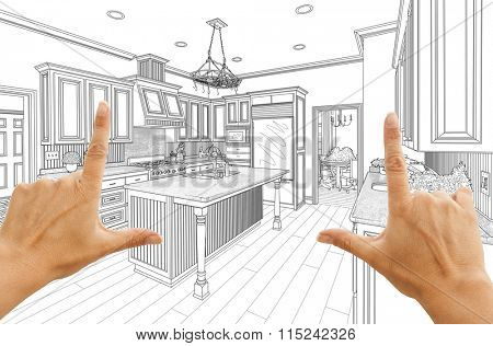 Female Hands Framing Custom Kitchen Design Drawing.