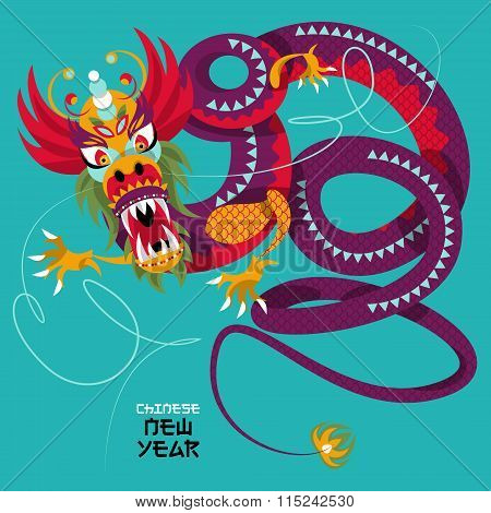 Chinese New Year. Dragon Dance. Greeting Card.