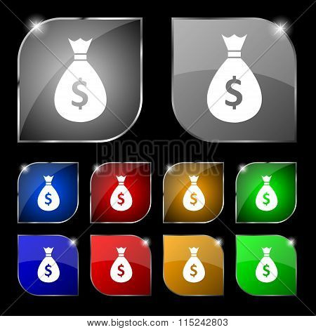 Dollar Money Bag Icon Sign. Set Of Ten Colorful Buttons With
