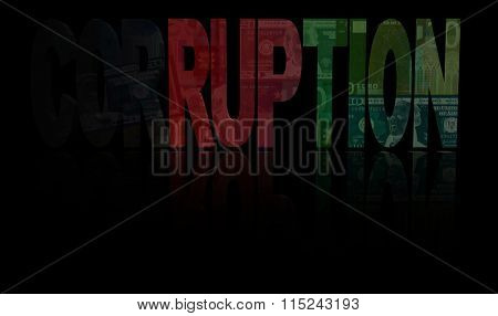 Corruption text with Afghan flag and currency illustration