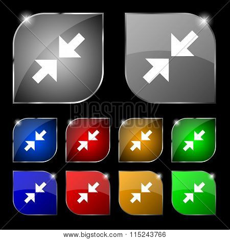 Exit Full Screen Icon Sign. Set Of Ten Colorful Buttons With Glare.
