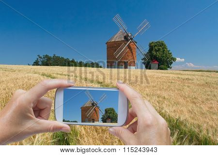 Taking Pictures By Smart Phone (brick Windmil, Czech Republic)